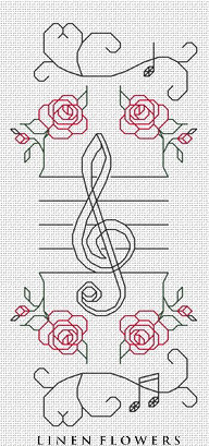 #240 Musical Bookmark by Linen Flowers