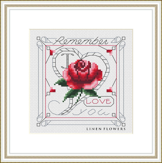 #245 Remember I Love You Frame by Linen Flowers